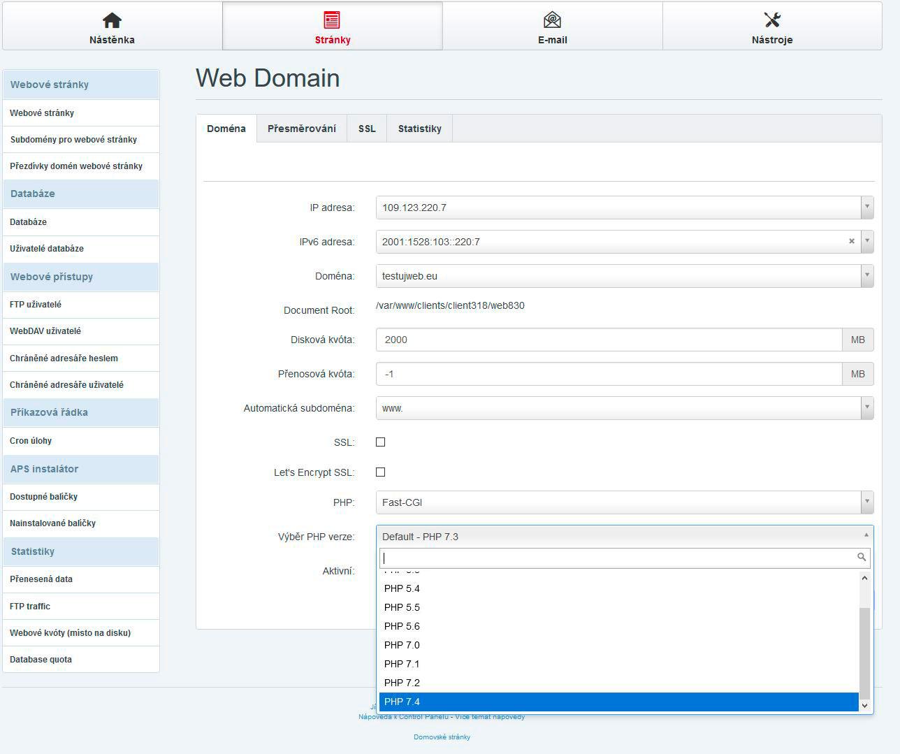 TvujWeb.cz výběr verze PHP - 5.3, 5.4, 5.5, 5.6, 7.0, 7.1, 7.2, 7.3, 7.4